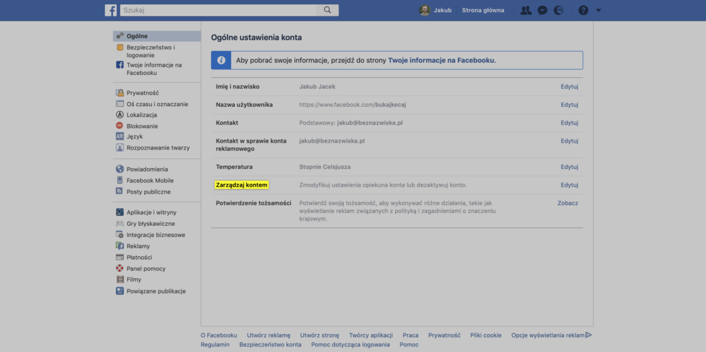 Wyznaczanie opiekuna konta na Facebooku