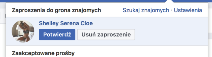 Fake konto wysyła zaproszenie na Facebooku