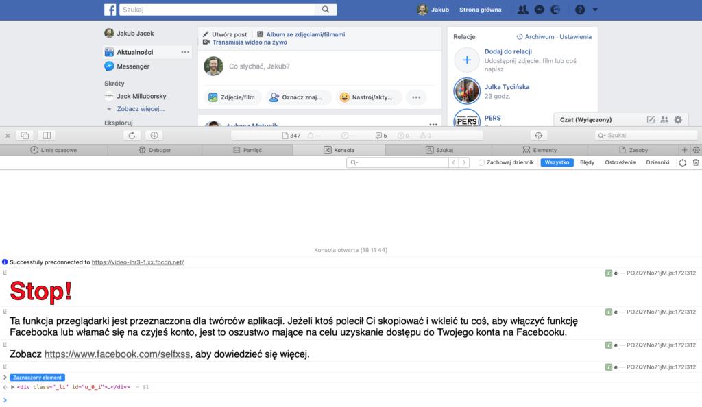 Ostrzeżenie Facebooka przed przejęciem konta za pomocą JavaScript