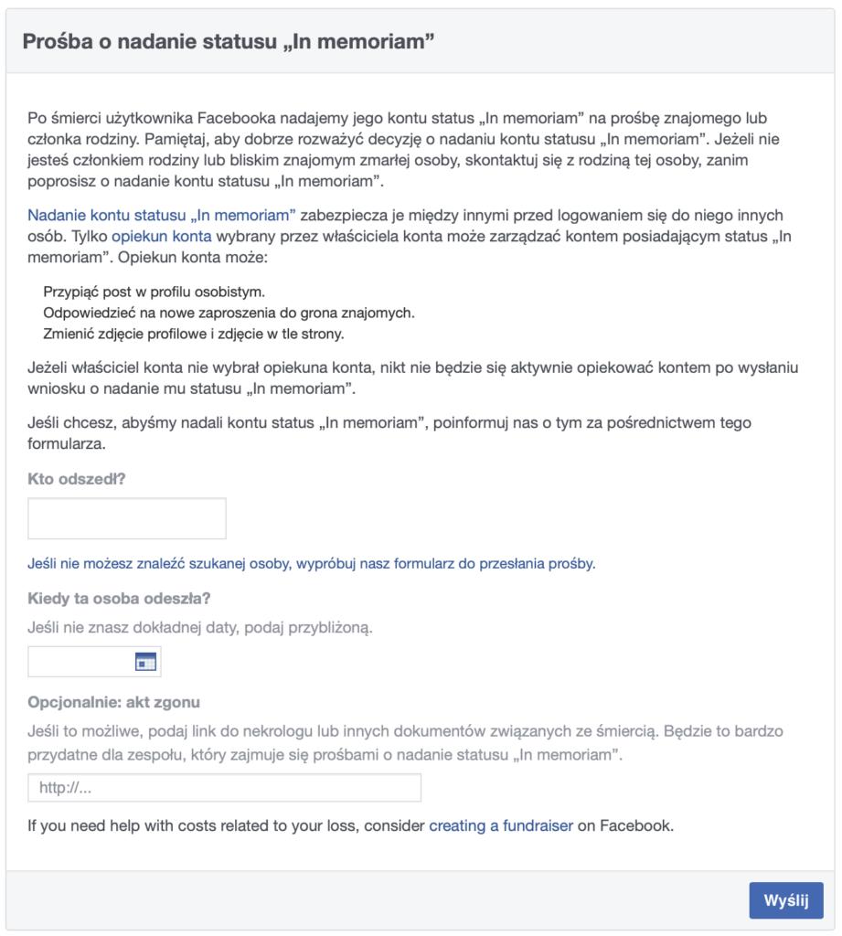 Wniosek o nadanie statusu in memoriam na Facebooku